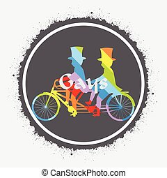 Tandem Cyclist Colored Illustration Vector Design