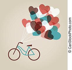 tandem cykel, kort, valentinkort
