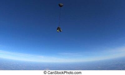 tandem, sauter, dehors, avion, parachutistes