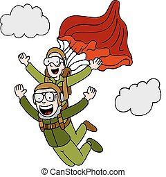Tandem Sky Diving - An image of a people doing a tandem sky...