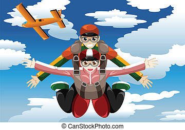 A vector illustration of people doing tandem skydiving
