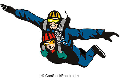 Illustration of tandem male and female skydiving set on isolated white background done in retro style.
