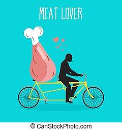 tandem., suina, amantes, presunto, romanticos, lovers., cycling., date., ilustração, bicycle., conjunto, quarter., jamon, hind, homem, passeio, rolos, carne
