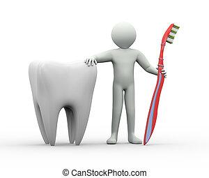 tandenborstel, 3d, man, tand