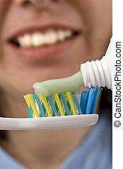 tandenborstel, deeg
