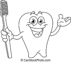 tandenborstel, geschetste, spotprent, tand