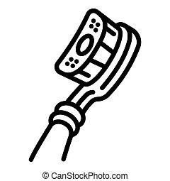 tandenborstel, pictogram, hoofd, stijl, schets