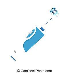 tandenborstel, pictogram, stijl, elektrisch, plat