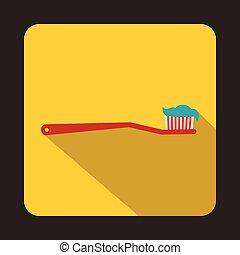 tandenborstel, plat, stijl, rood, pictogram