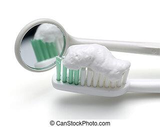 tandenborstel, spiegel