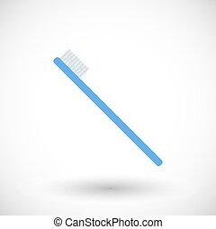 tandenborstel, vector, plat, pictogram