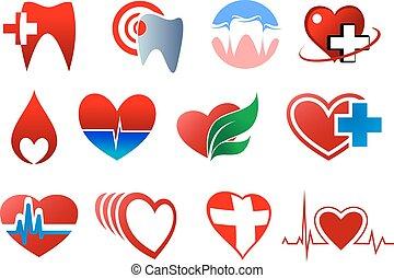 tandheelkunde, cardiologie, en, bloedschenking, symbolen