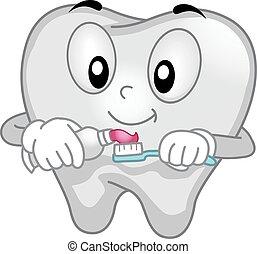 tandkräm, fördelning, tand, maskot