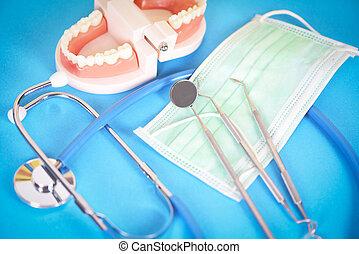 tandläkare, checkup, tand verktyg, tandproteser, tänder, modell, spegel, muntlig, tandläkekonst, hygieniker, begrepp, mun, instrument, hälsa
