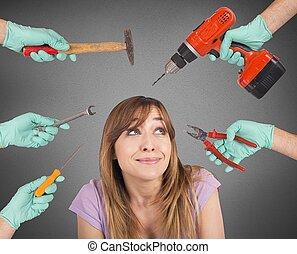 tandläkare, skrämmande, tokig, redskapen