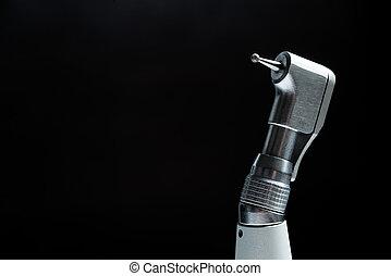tandläkare, svart, drill, bakgrund