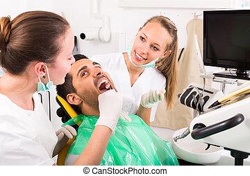 tandläkare, tålmodig, undersöka, clinic.