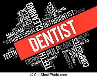 tandlæge, glose, sky, collage