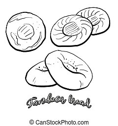 Tandoor bread food sketch separated on white. Vector drawing...