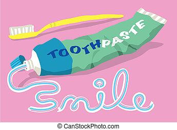 tandpasta, en, borstel, met, glimlachen, woord