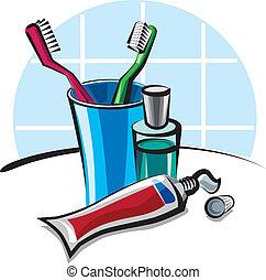 tandpasta, toothbrushes