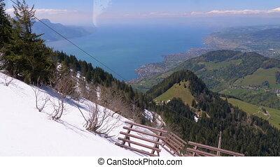 tandrad, besneeuwd, uphill., trein, bergen., alpen,...
