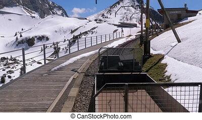 tandrad, railway., alpen, trein, zwitserland, bergen,...
