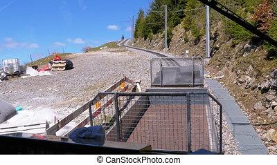 tandrad, railway., alpen, trein, zwitserland, bergen, ritten