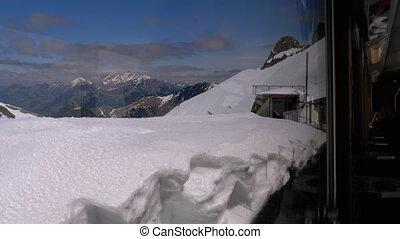 tandrad, toerist, alpen, meten, smalle , bergen.,...