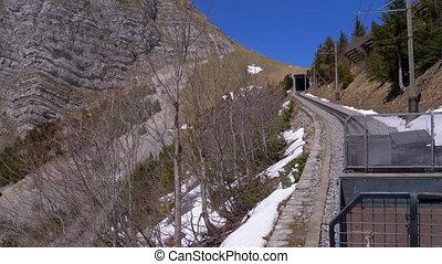tandrad, trein, bergen, ritten, besneeuwd, alpen,...