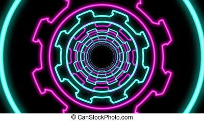 "tandrad, tunnel"", veelkleurig, ""abstract, gevormd"