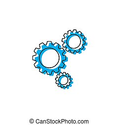 tandwiel, concept, vrijstaand, vector, achtergrond, witte , pictogram