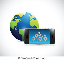 tandwiel, globe, illustratie, telefoon, ontwerp, wolk