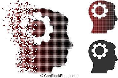 tandwiel, halftone, hersenen, verdwijnen, pixel, pictogram
