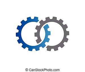 tandwiel, illustratie, vector, ontwerp, mal, logo, pictogram