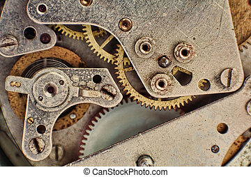 tandwiel, klok, macro, mechanisme, gears.mechanical, achtergrond.
