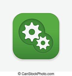 tandwiel, pictogram, op, plein, knoop, tandwiel, mechanisme, icon.