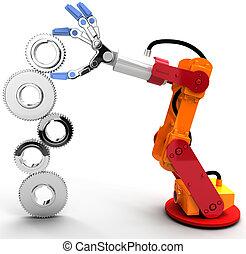 tandwiel, robot, groei, bouwen, technologie, arm