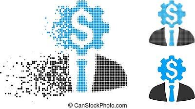 tandwiel, werkkring werker, decomposed, dollar, halftone, dotted, pictogram