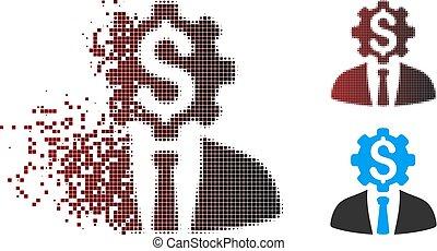 tandwiel, werkkring werker, dollar, halftone, opgeloste, pixel, pictogram