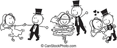 tanec, nejdříve, karikatura, svatba
