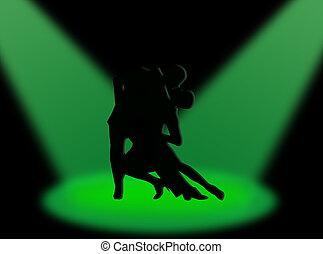 tangó, alatt, a, reflektorfény