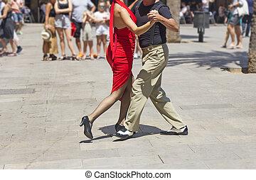 tangó, táncol, táncosok, előadó, párosít, argentin, utca