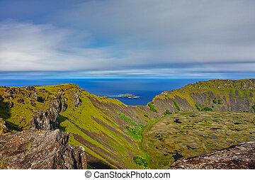 Tangata matu islets and Rano Kau long exposure in Rapa Nui -...