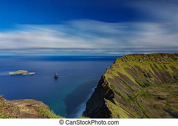 Tangata matu islets and Rano Kau ultra long exposure in Rapa...
