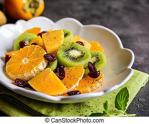 tangelo, kiwi, slaatje, persimmons, minneola, fruit, zaden, klaproos, veenbessen, bestrooid