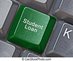 tangentbord, med, varm, nyckel, för, studerande lån