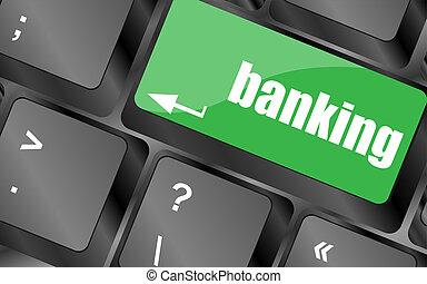 tangentbord, nyckel, med, komma in, knapp, bankrörelse, affärsidé