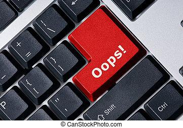 tangentbord, röd, nyckel, hoppsan!