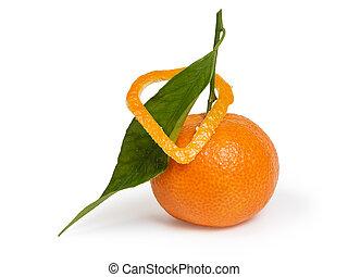 tangerina, com, folha